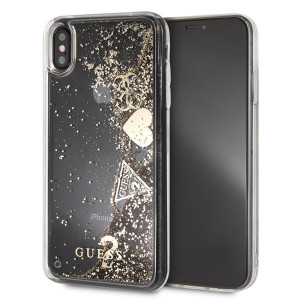 Guess Glitter Case Hearts Gold - Apple iPhone XS Max