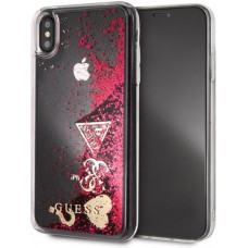 Guess Glitter Case Hearts Raspberry - Apple iPhone XS Max (D52)