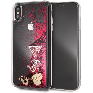 Guess Glitter Case Hearts Raspberry - Apple iPhone XS Max