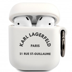 Karl Lagerfeld Rue St Guillaume Pouzdro pro Airpods 1/2 White