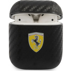 Ferrari Carbon PC/PU Pouzdro pro Airpods 1/2 Black