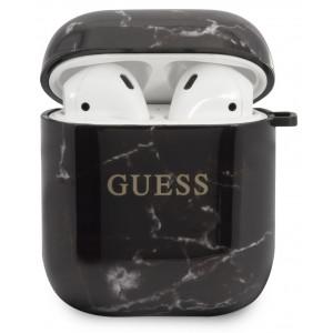 Guess TPU Marble Pouzdro pro Airpods 1/2 Black
