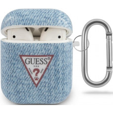 Guess Denim Triangle Pouzdro pro Airpods 1/2 Light Blue