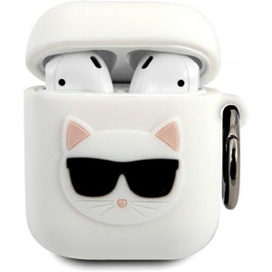 Karl Lagerfeld Choupette Head Pouzdro pro Airpods 1/2 White