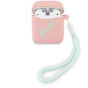 Guess Vintage Silikonové Pouzdro pro Airpods 1/2 Pink