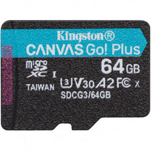 Kingston 64GB Canvas Go! Plus microSDXC, Class 10, UHS-I, U3, V30, A2