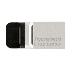 Transcend JetFlash 880 USB + micro USB Flash Drive 64GB Silver