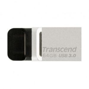 Transcend JetFlash 880 USB + micro USB Flash Drive 64GB Silver