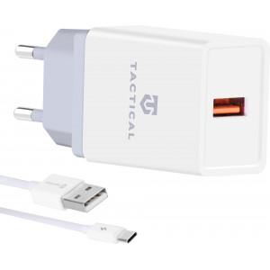 Tactical LZ-067 USB-A 3.1A Cestovní Nabíječka + Type C Kabel White