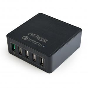 Energenie 5-portová rychlá nabíječka USB, QC 3.0, černá