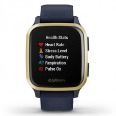 Garmin VENU SQ Music Light Gold Aluminum Bezel with Navy Case and Silicone Band