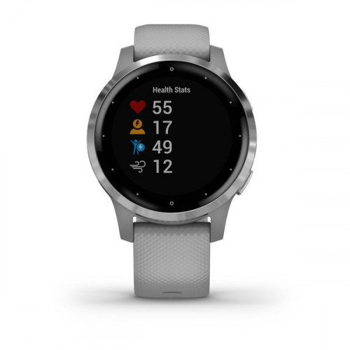 Garmin vívoactive 4S Silver Stainless Steel Bezel with Powder Gray Case and Silicone Band (eco box)