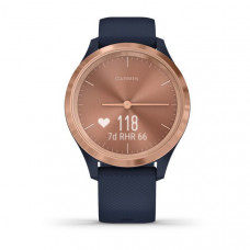 Garmin vívomove 3S Rose Gold Stainless Steel Bezel with Navy Case and Silicone Band