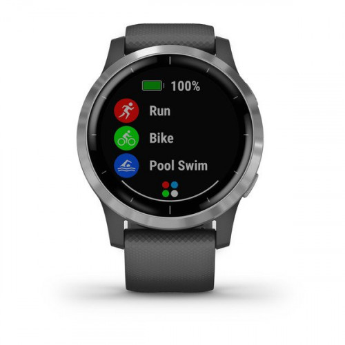 Garmin vívoactive 4 Silver Stainless Steel Bezel with Shadow Gray Case and Silicone Band (eco box)