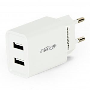 Energenie 2-portová univerzální USB nabíječka, 2,1A, bílá
