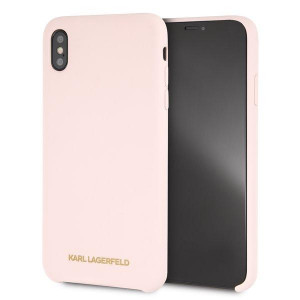 Karl Lagerfeld Gold Logo Silicone Case Pink pro iPhone X / Xs