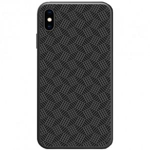 Nillkin Synthetic Fiber Ochranný Zadní Kryt Plaid Black pro iPhone X / Xs