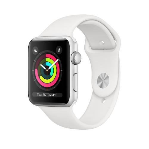 Apple Watch Series 3 GPS se 42mm pouzdrem ze stříbrného hliníku s bílým sportovním řemínkem