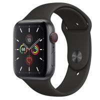 Apple Watch Series 5 • GPS + Cellular • 44mm pouzdro z vesmírně šedého hliníku • Černý sportovní řemínek – S/M a M/L