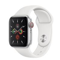 Apple Watch Series 5 • GPS + Cellular • 40mm pouzdro ze stříbrného hliníku • Bílý sportovní řemínek – S/M a M/L