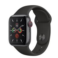 Apple Watch Series 5 • GPS + Cellular • 40mm pouzdro z vesmírně šedého hliníku • Černý sportovní řemínek – S/M a M/L