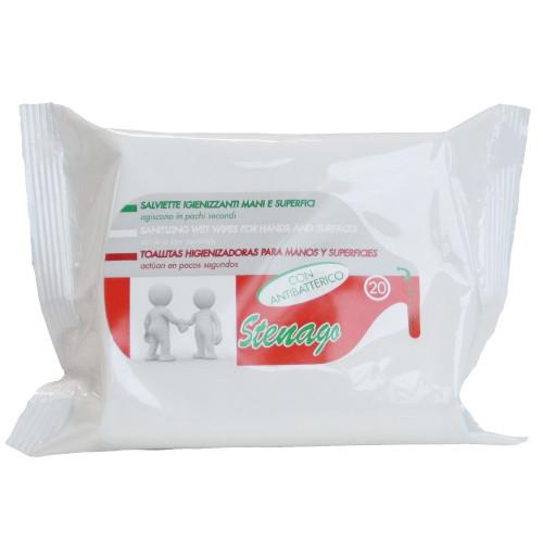Antibakteriální vlhčené ubrousky Stenago, 20ks
