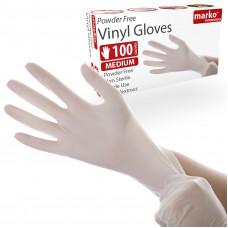 Jednorázové Vinylove rukavice Marko Homewares, 100ks, velkost M