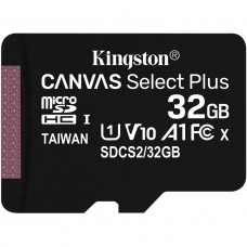 Kingston Canvas Select Plus microSDHC UHS-I Class 10 card 32GB + SD adaptér (EU Blister)