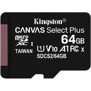 Kingston Canvas Select Plus microSDXC UHS-I Class 10 card 64GB + SD adaptér (EU Blister)