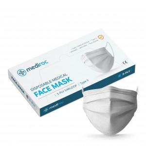 Mediroc STL3PLY rouška jednorázová 3 vrstvá bílá 100 ks - MEDICAL